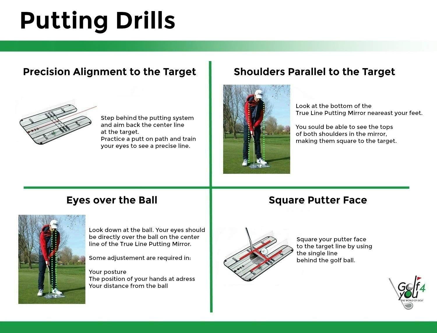 Golf Training Aid, Putting Set - XL Alignment Mirror Design with Our Exclusive Clear Adjustable Guide Rails ''True Line Putting Mirror'' - Leading Practice Aid for On-Line, Consistent Putting Stroke by GOLF4 YOU THE WORLD OF GOLF (Image #7)