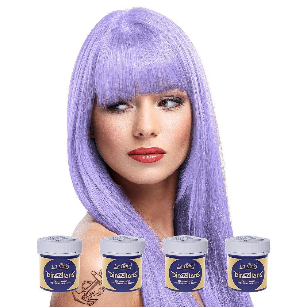4 x La Riche Directions Semi-Perm Hair Colour Lilac (ALL COLOURS Avail) 4x 88ml by La Riche by La Riche
