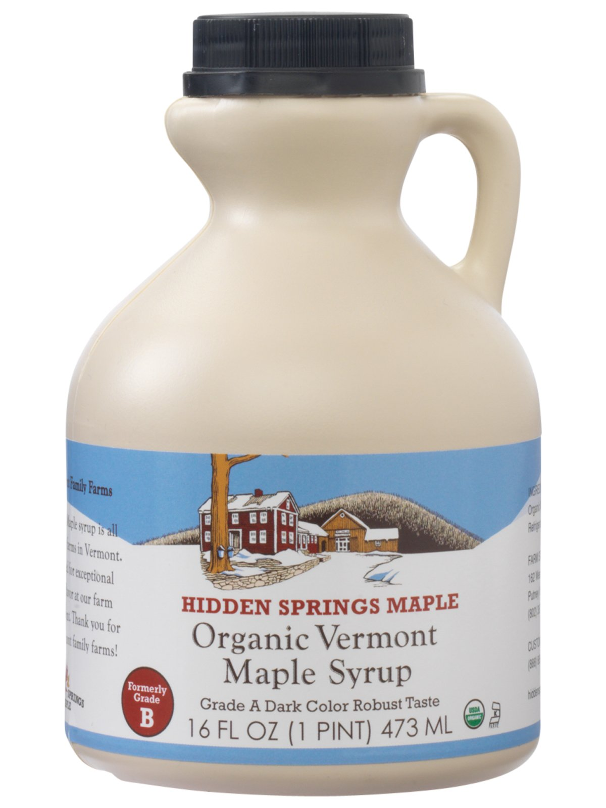 Hidden Springs Organic Vermont Maple Syrup, Dark Robust (Formerly Grade B), 16 Ounce