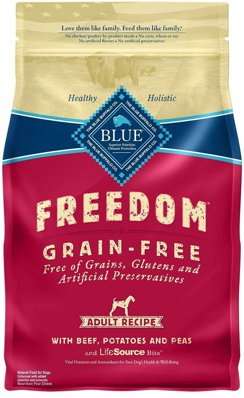 bluee Buffalo Freedom Grain Free Natural Adult Dry Dog Food, Beef 4-Lb