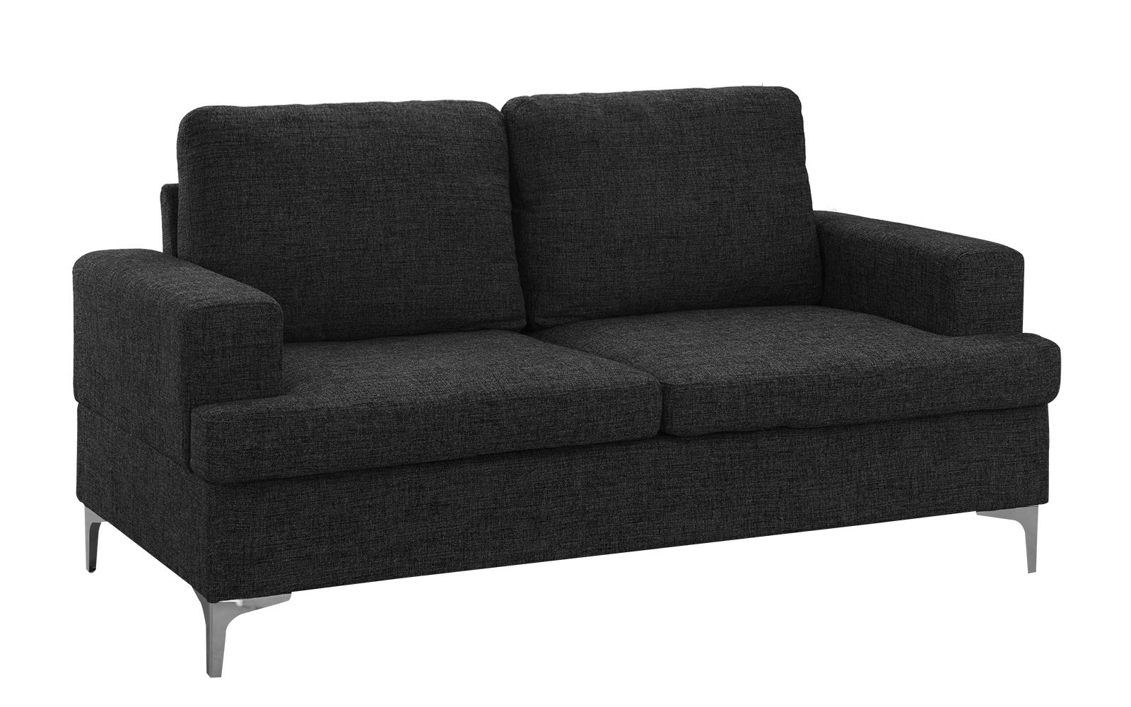Mid Century Modern Linen Fabric Loveseat Couch (Dark Grey) by Casa Andrea Milano