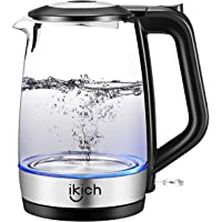 iKich Glass Electric Kettle Illuminated, 1.7L Eco Cordless Water Kettle with Auto Shut-Off & Boil-Dry Protection, Quiet BPA Free Water Boiler, Stainless Steel Inner Lid & Bottom, 2200W