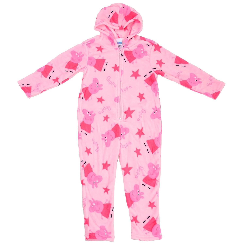 peppa pig girls pink star onesie pyjamas soft all in one jump play