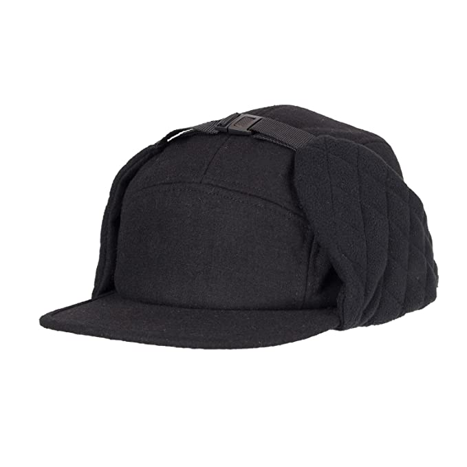 1ca6dfc5be5cbc Wemco Men's 5 Panel Quilted Ear Flap Floppy Hat - Black at Amazon ...