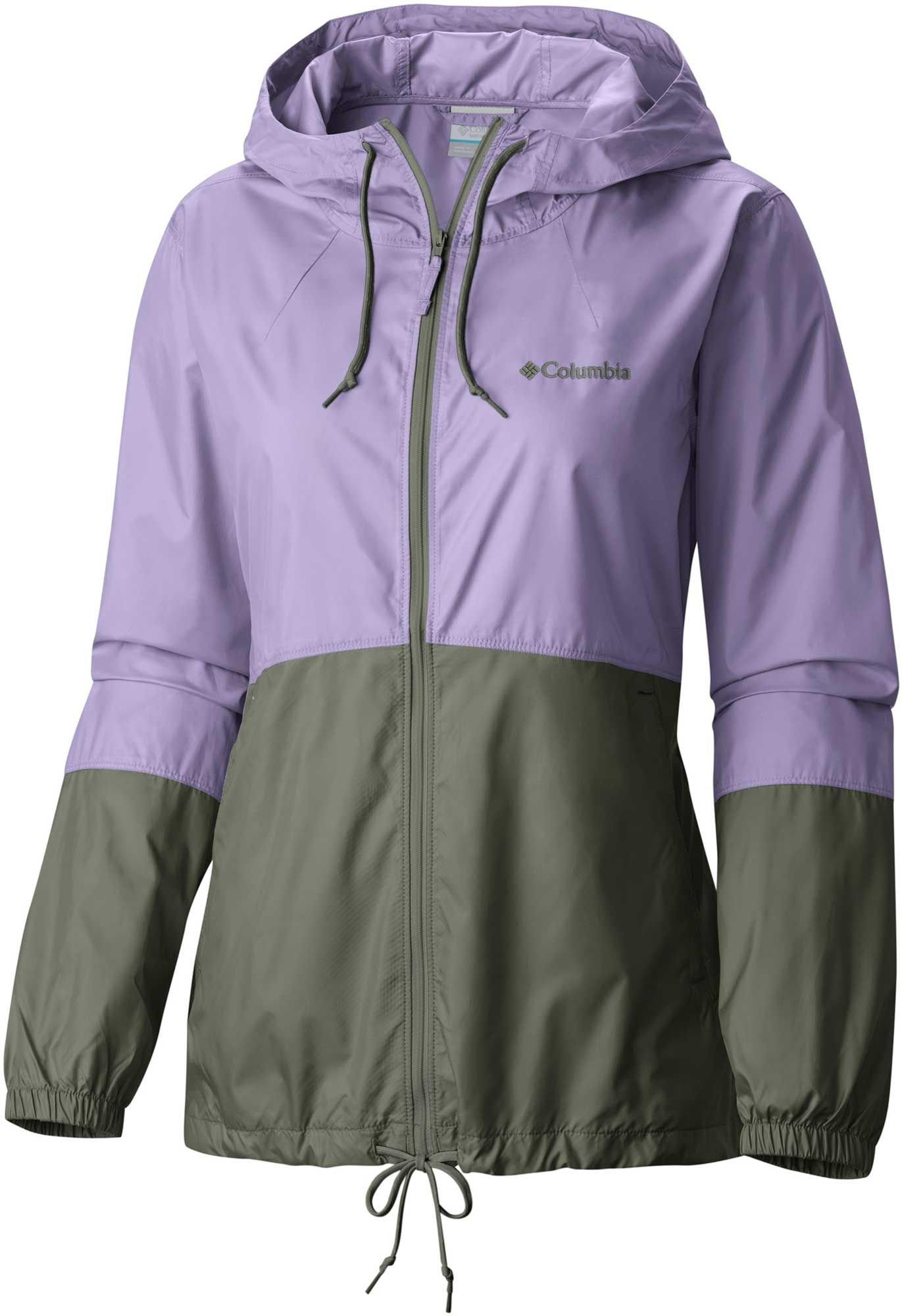 Columbia Women's Plus Size Flash Forward Windbreaker Jacket, Soft Violet, Cypress, 1X