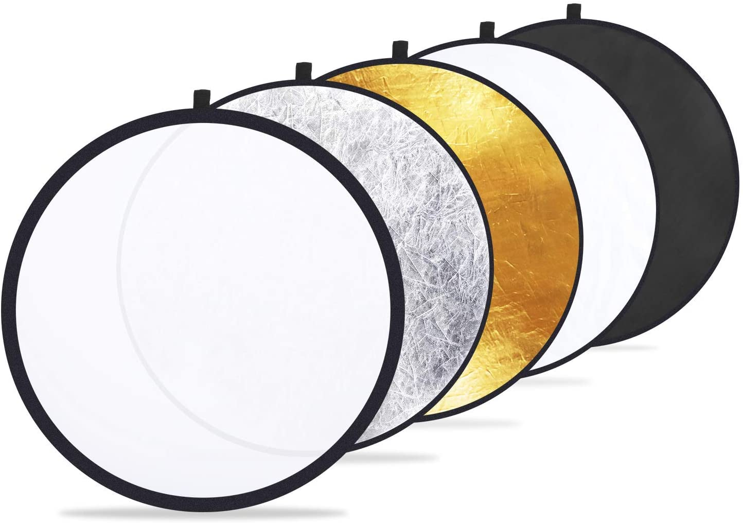 10 Pcs 5-in-1 Collapsible Multi-Disc Light Reflector Gold Silver Black White Soft Light Five Colors Foldable Background Board 60cm Suitable For Indoor And Outdoor Photography Lighting Reflectors