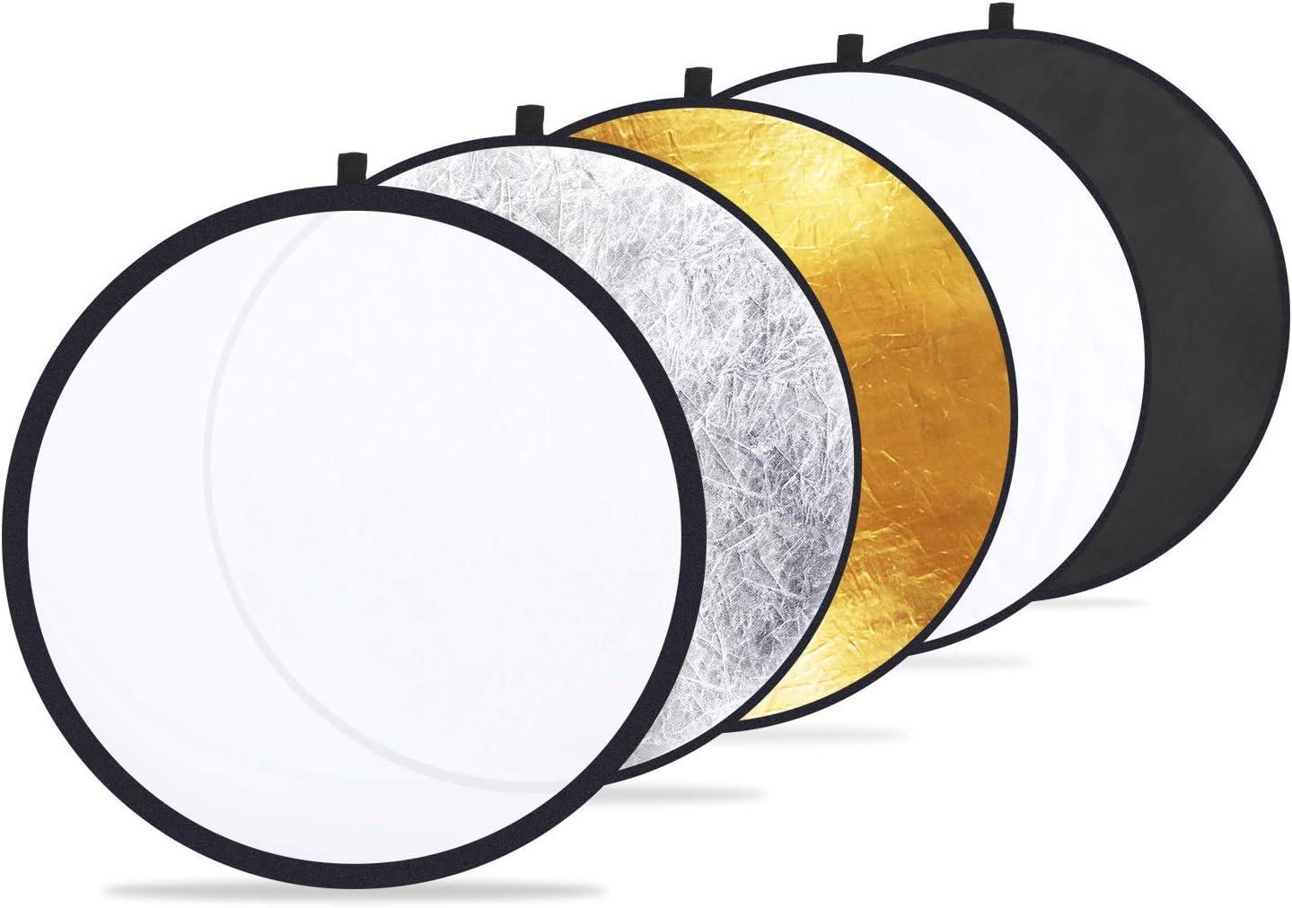 Dorado, Plateado, Blanco, Negro, transl/úcido KANGIRU 2460cm Disco 5 en 1 Fotograf/ía de Estudio Plegable Foto Reflector de luz Port/átil m/últiple Duradero y /útil
