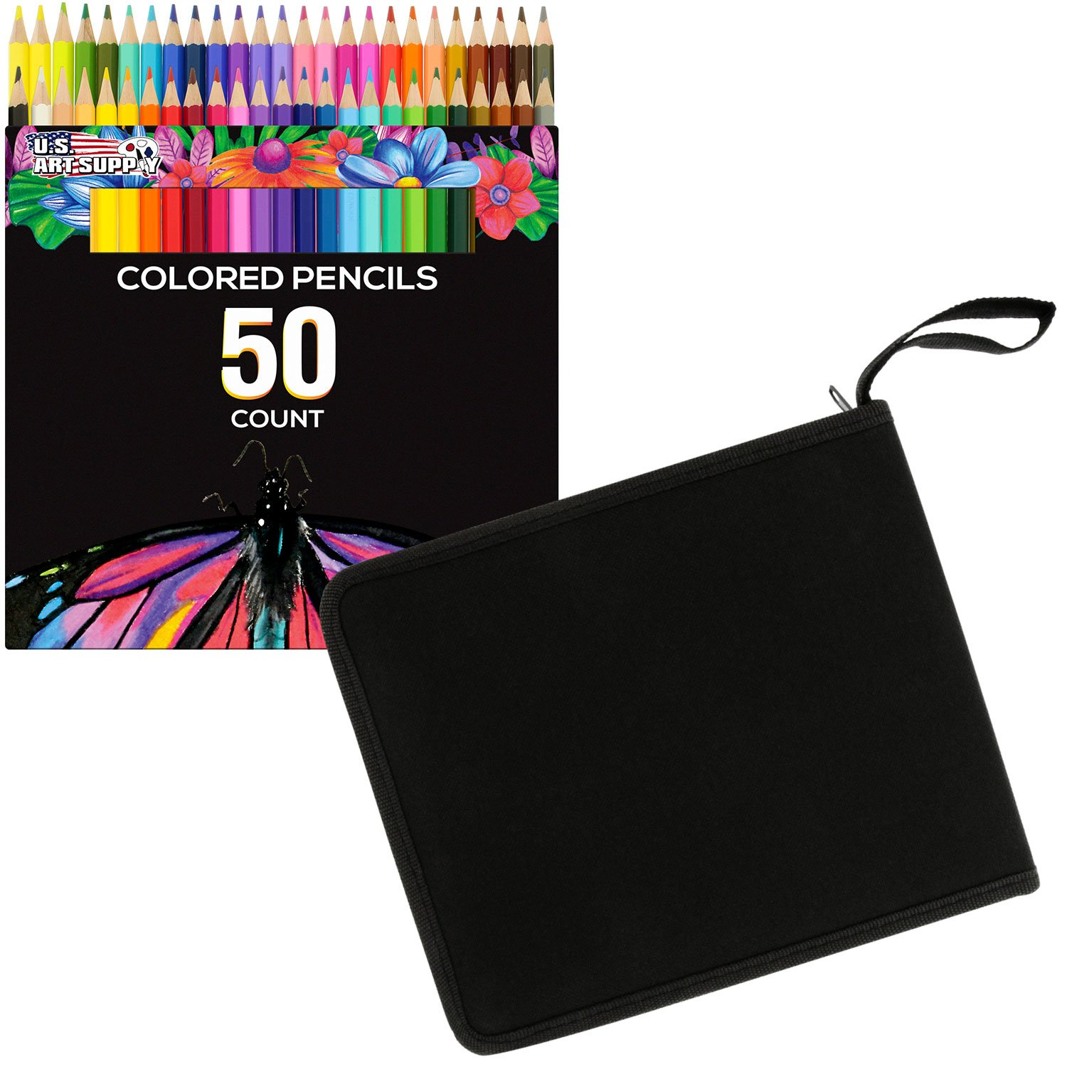 US Art Supply 50 Piece Adult Coloring Book Artist Grade Colored Pencil Set and Bonus Zippered Carry Case 4336949421