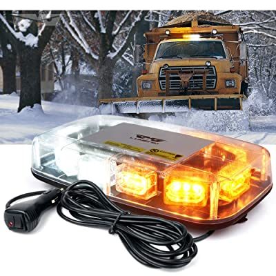 "[Upgraded]Lumenix Rooftop Strobe Light 12"" Emergency Hazard Warning Safety LED Mini Strobe Light Bar Waterproof and Magnetic Base Beacon Light for Truck Construction Vehicle Snow Plow Car(White Amber): Automotive"
