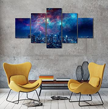 Beautiful Wall Art Painting On Canvas City Night Starry Sky Pictures Home Decor Bedroom Wall Decorative Modern Artwork 5 Panel Hd Paintings Set Frame