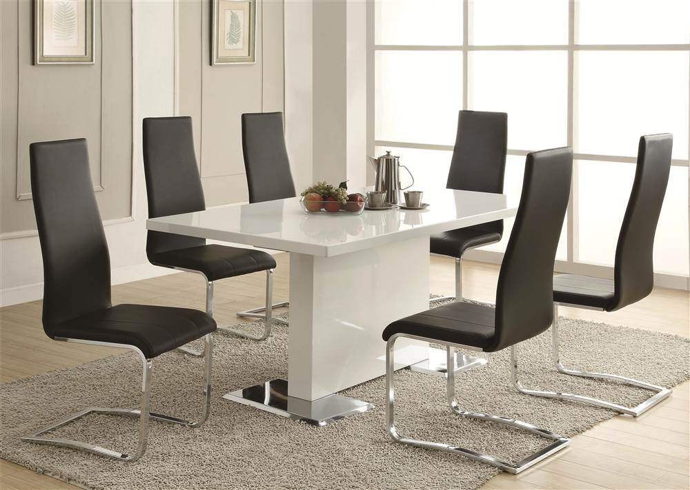 amazoncom glossy white contemporary dining table tables - White Dining Room Furniture Sets