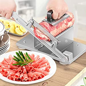 IRONWALLS Manual Frozen Meat Slicer Beef Mutton Roll Cutter Food Vegetable Sheet Cheese Bacon Stainless Steel Slicing Machine for Home Kitchen