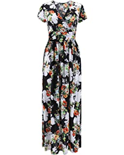 1b7e0e1a433 Comila Women s Summer V Neck Floral Maxi Dress Casual Long Dresses ...