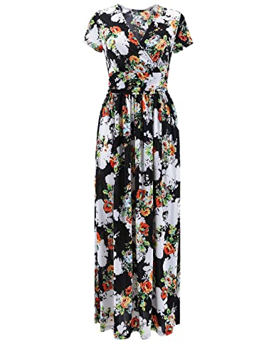 OUGES Women's V-Neck Pattern Pocket Maxi Long Dress(Black,S)