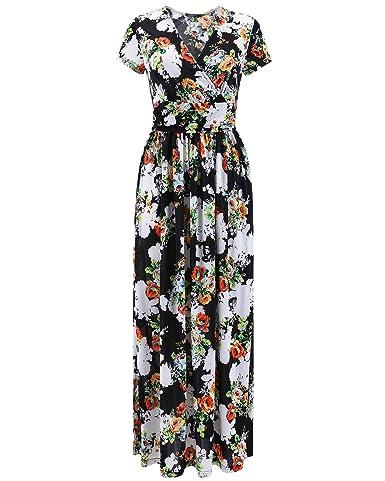 OUGES Women's V-Neck Pattern Pocket Maxi Long Dress(Black,S)