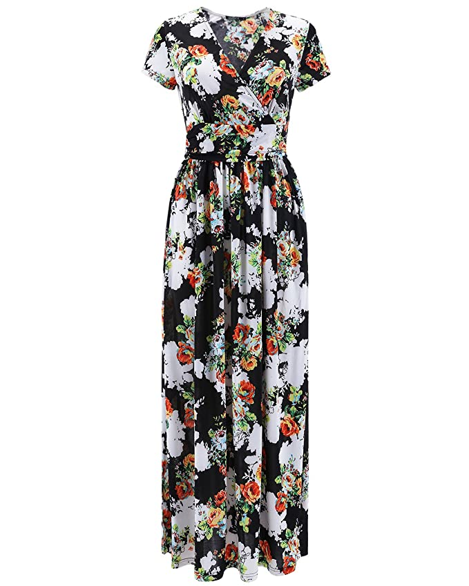 OUGES Women's V-Neck Pattern Pocket Maxi Long Dress(Black,XXL)