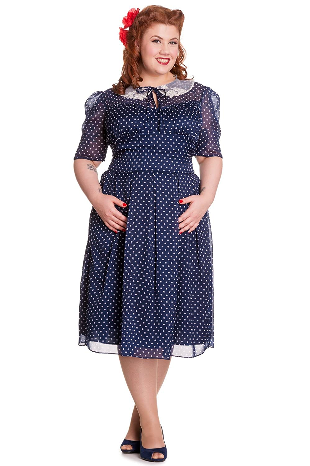 Plus Size Vintage Dresses, Plus Size Retro Dresses Hell Bunny Plus 40s 50s Vintage Cynthia Polka Dot Chiffon Dress $75.00 AT vintagedancer.com