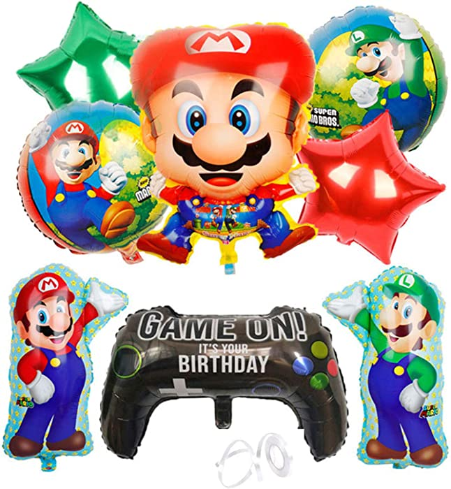 Fuovt Super Mario Bros Balloons Super Mary Balloons Mario Party Supplies for Kids Birthday Party Decorations, Set of 9 Pcs
