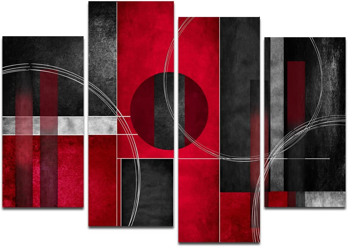Amazon Com Wieco Art Large 4 Piece Red And Black With Circles Modern Abstract Artwork Giclee Canvas Prints Black And Red Pictures Paintings On Canvas Wall Art For Living Room Bedroom Home Decorations