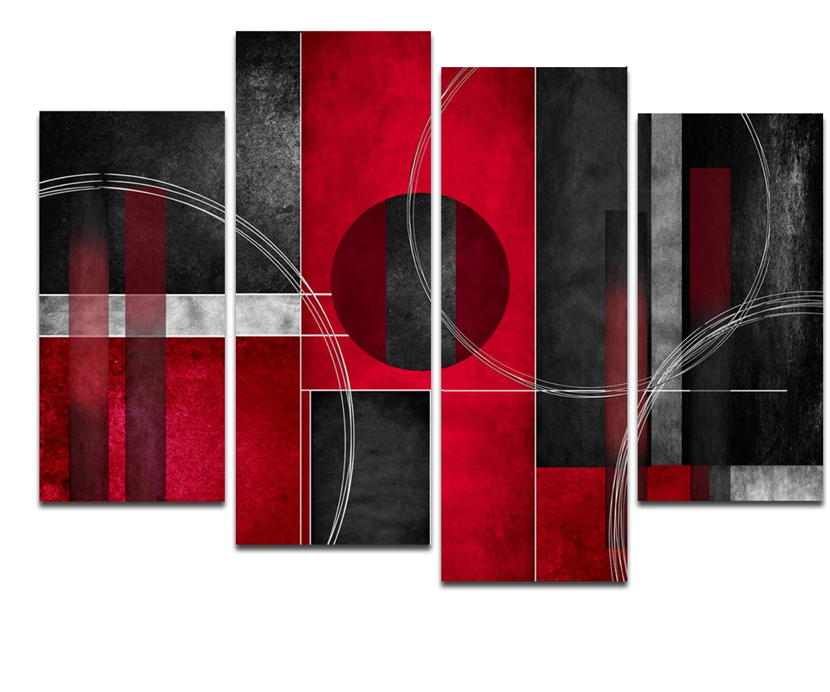 Wieco Art Large 4 Piece Red and Black with Circles Modern Abstract Artwork Giclee Canvas Prints Black and Red Pictures Paintings on Canvas Wall Art for Living Room Bedroom Home Decorations