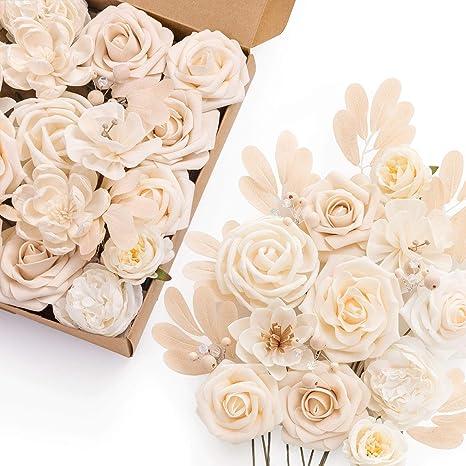 Amazon Com Ling S Moment Artificial Flowers Combo Box Set For Diy Wedding Bouquets Centerpieces Arrangements Bridal Shower Party Home Decorations Home Kitchen