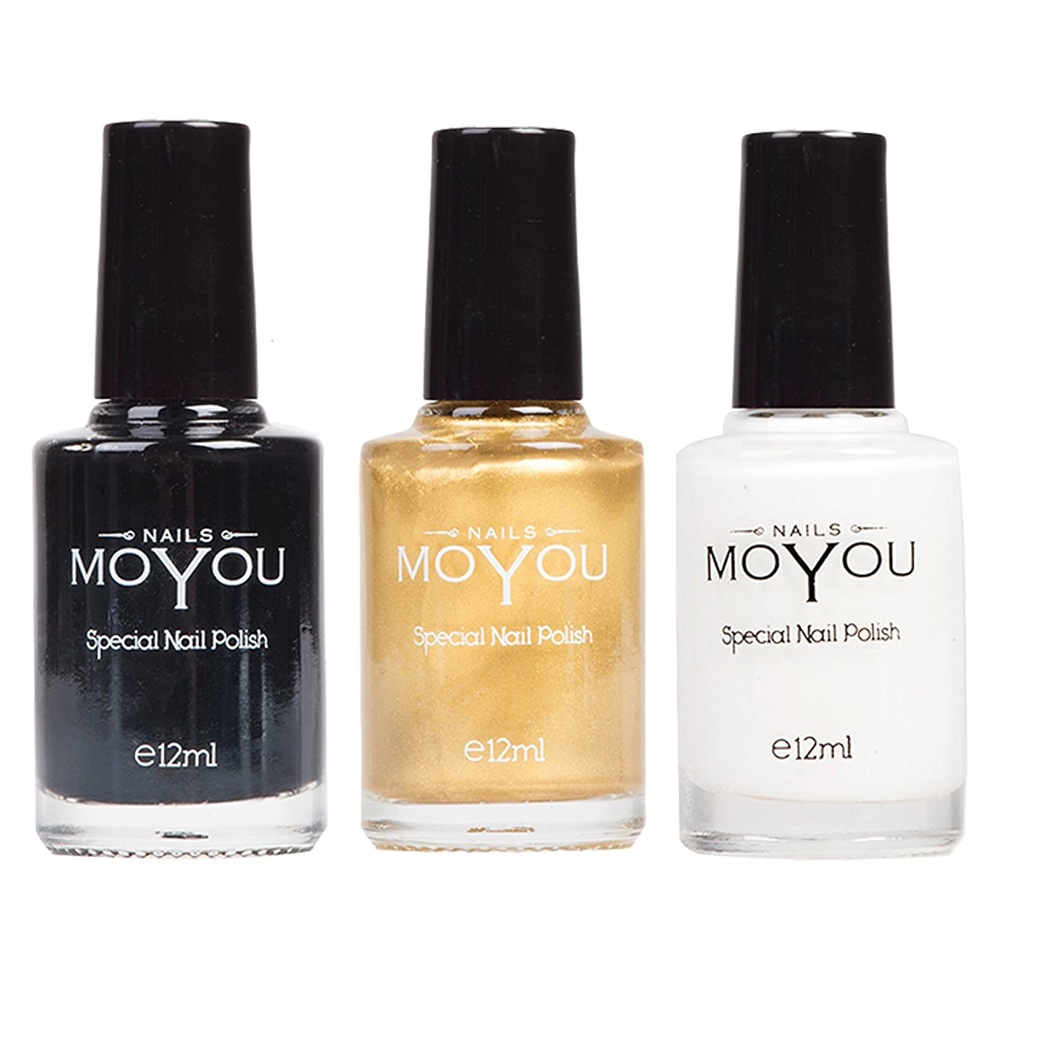 MoYou Nails Bundle of 3 Stamping Nail Polish: Black, White and Gold Colours Used to Create Beautiful Nail Art Designs