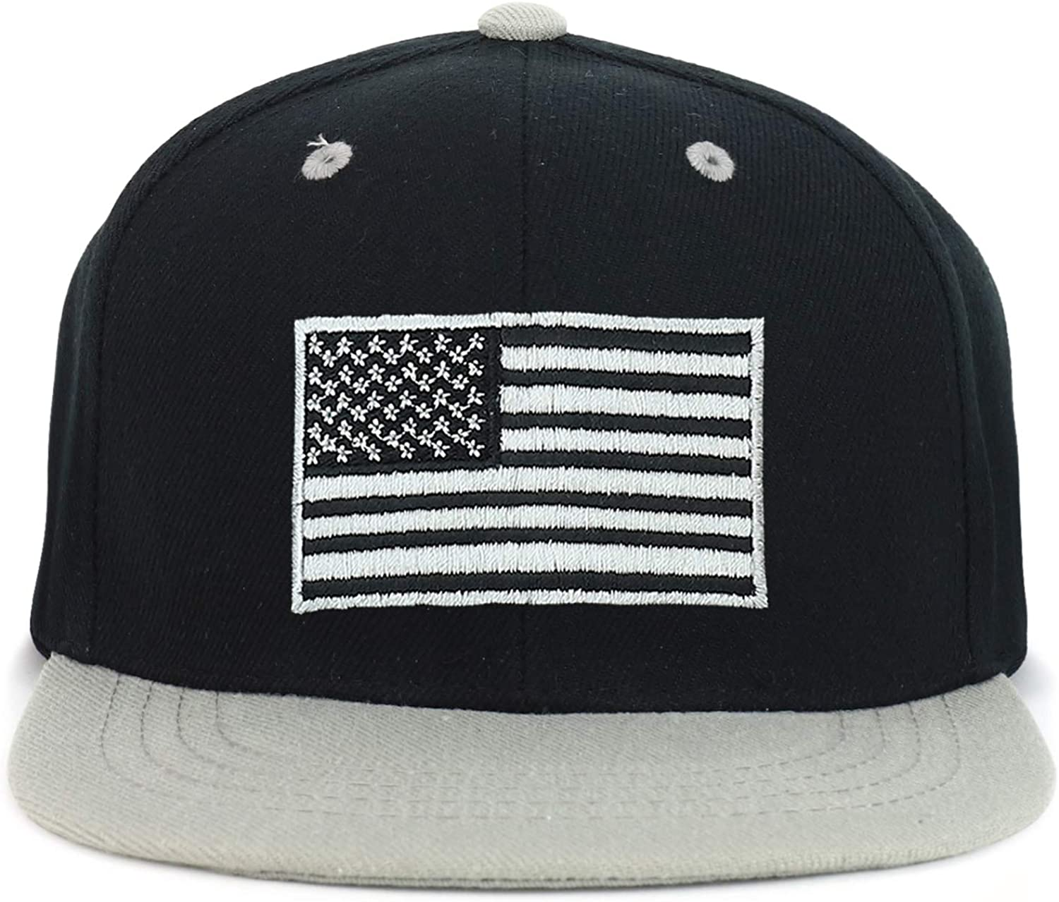 Armycrew Youth Kids American Flag Embroidered Flat Bill Snapback 2-Tone Baseball Cap