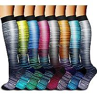 Compression Socks for Women&Men 15-20 mmHg (8 Pairs)-Best for Travel,Medical,Nursing