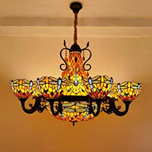Large Tiffany Style Stained Glass 10 Arms Blue Dragonfly Composite Chandelier with 20 Inch Inverted Pendant Lighting, 8 Inch Crystal Beads Vintage Ceiling Light, Maroon Lampshade, E27×17