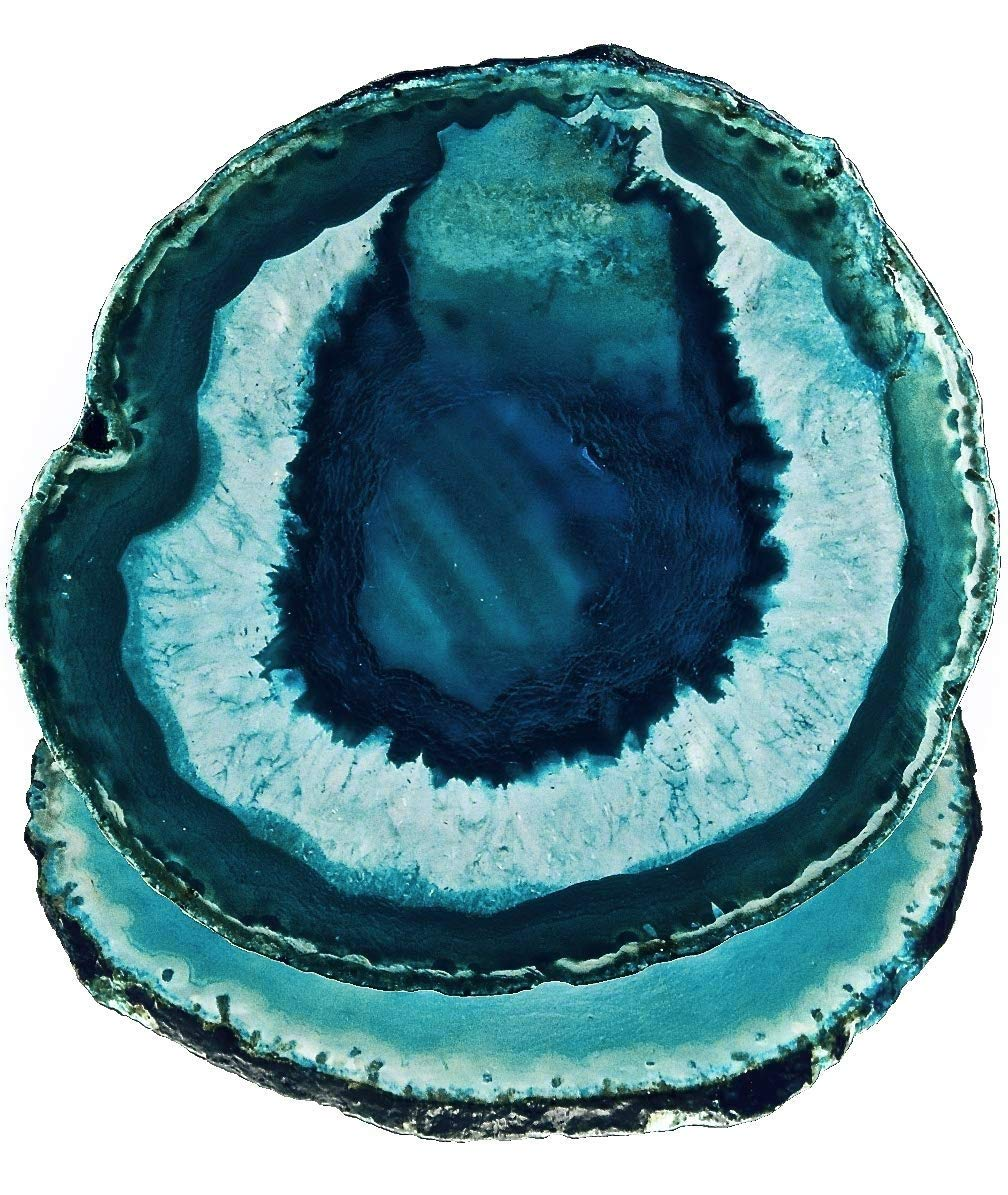 LARGE TEAL/BLUE AGATE COASTERS (4''-4.73'', Set of 2, with Bumpers & Coating) | Geode Stone Slices with Natural Marble & Quartz Crystal Accent for Table Decor by Cambridge Coasters US