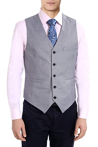 Amazon.com: fisoul hombre traje chaleco formal Slim Fit ...