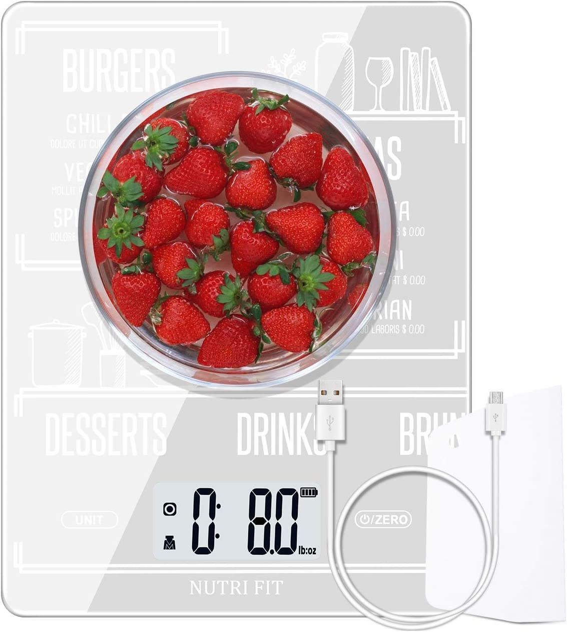 Rechargeable Food Scale Digital Kitchen Scale Multifunction with Dough Scraper by NUTRI FIT, High Accuracy, Portable and Tare Function, 11lb/5kg Baking & Cooking Scale, White