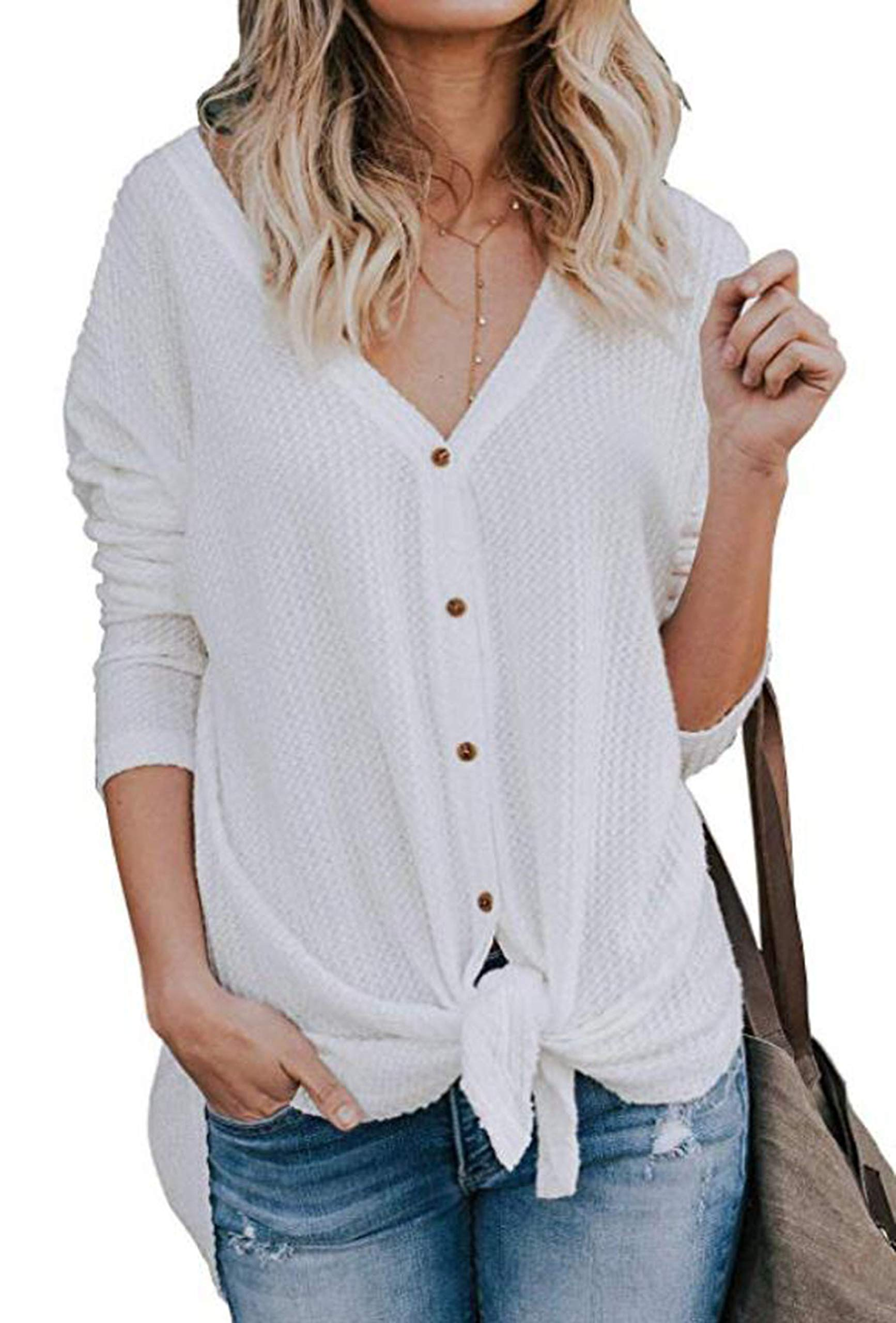 UGET Womens Long Sleeve V Neck Button Down Waffle Knit Tunic Blouse Tie Knot Henley Tops Asia S White