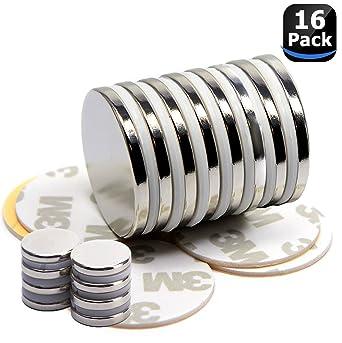 Juego de 16 imanes de neodimio, Imanes fuertes adhesivos con cinta adhesiva de 3M, Imanes autoadhesivos con película adhesiva, fuerza adhesiva extra (16PC): Amazon.es: Industria, empresas y ciencia