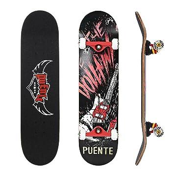NACATIN Skateboard Completo para Adultos y Niños con Rotamiento 608 ABEC-9, 92A y