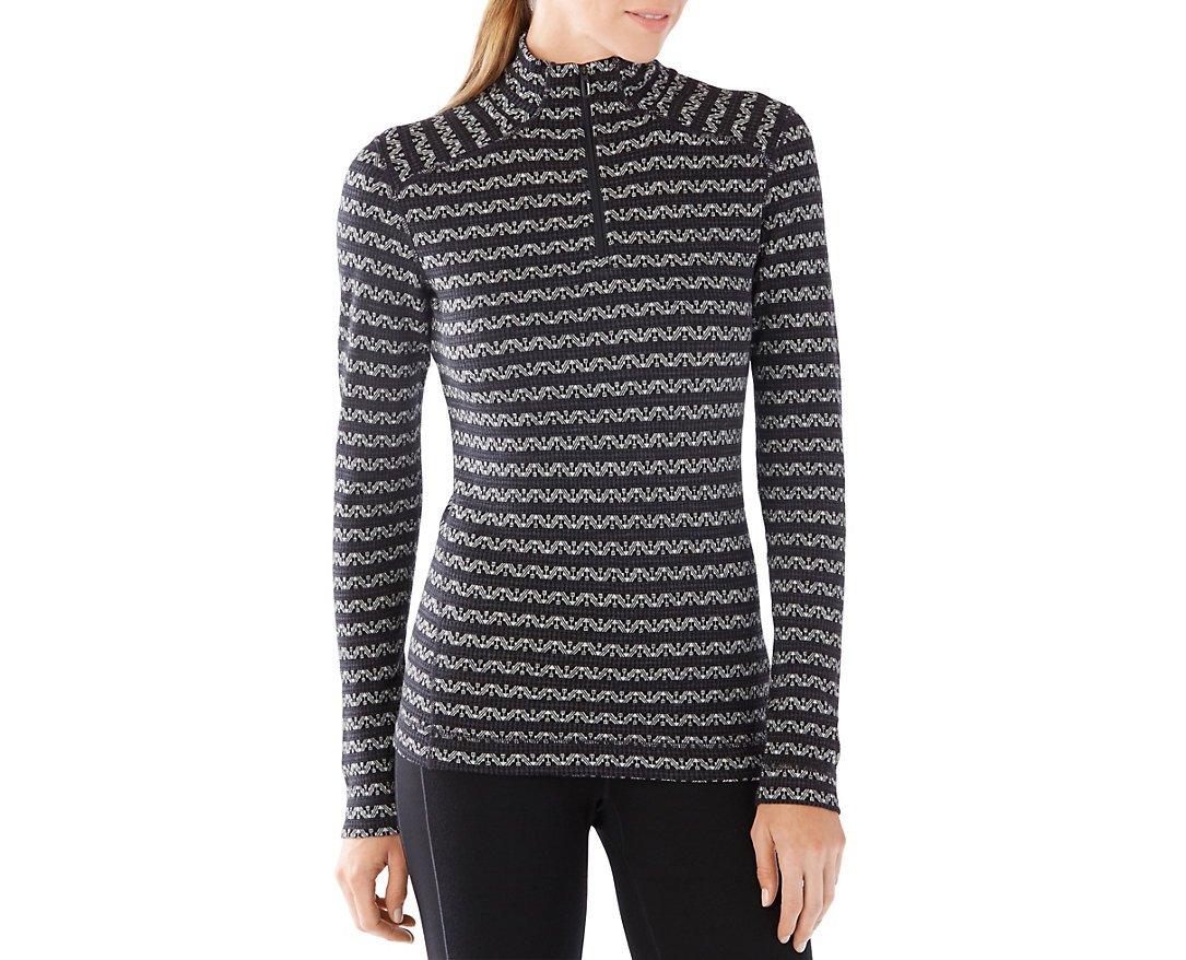 Smartwool Women's NTS Mid 250 Pattern Zip T (Black/Charcoal) X-Large by SmartWool