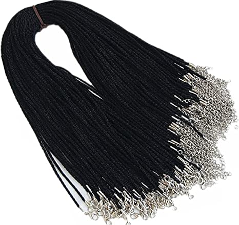 50 Pcs Black Necklace Cord Satin Silk Rope Necklace Chain With Lobster Claw Clasp 24