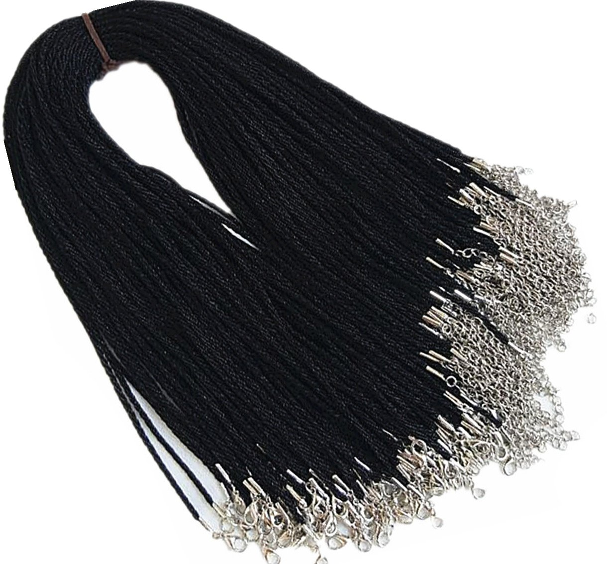 24'' Black Satin Silk Necklace Cord Chain Cotton Rope with Lobster Claw Clasp 2.0mm 100Pcs by Gozillon