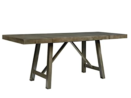 Amazoncom Standard Furniture Omaha Trestle Dining Table With Two - Grey trestle dining table