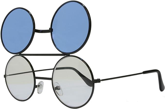 Retro Sunglasses | Vintage Glasses | New Vintage Eyeglasses G&G Round Flip Up Sunglasses Black $12.95 AT vintagedancer.com