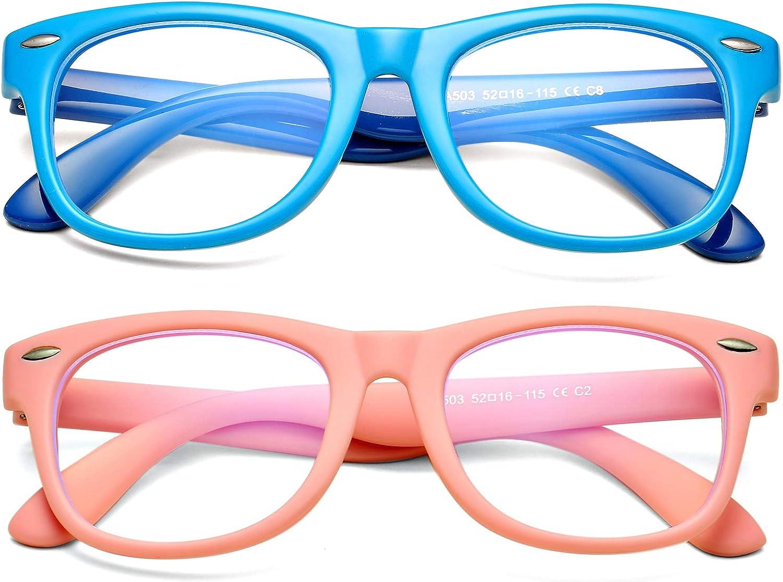 DeBuff Kids Blue Light Blocking Glasses Boys Girls Nerd Blue Light Blockers Age 3-12