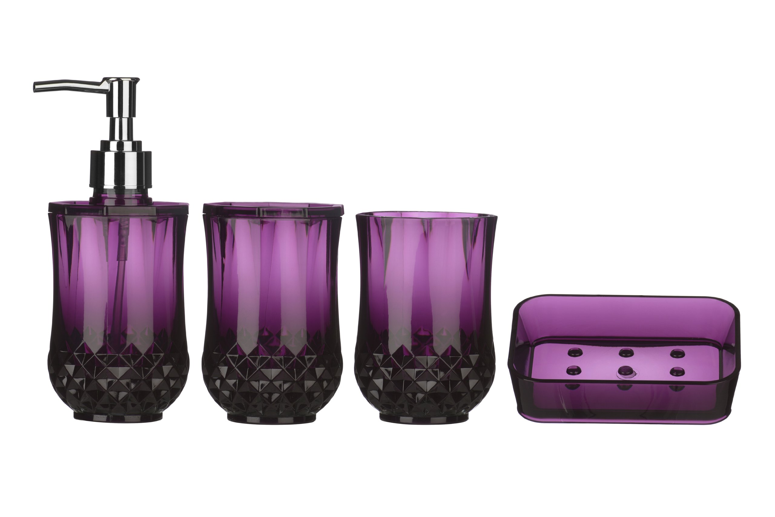 Premier Housewares Cristallo Bathroom Set, 4 Pieces   Purple