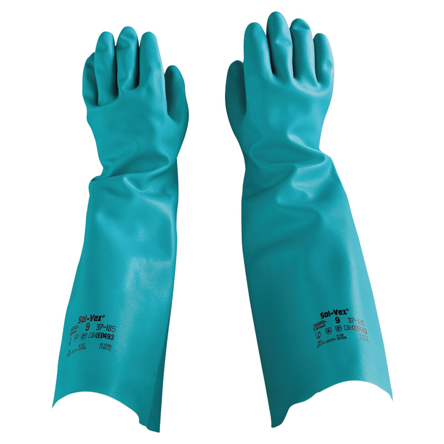 Ansell Solvex 37-185 Green Chemical Resistant Nitrile Gauntlet Gloves