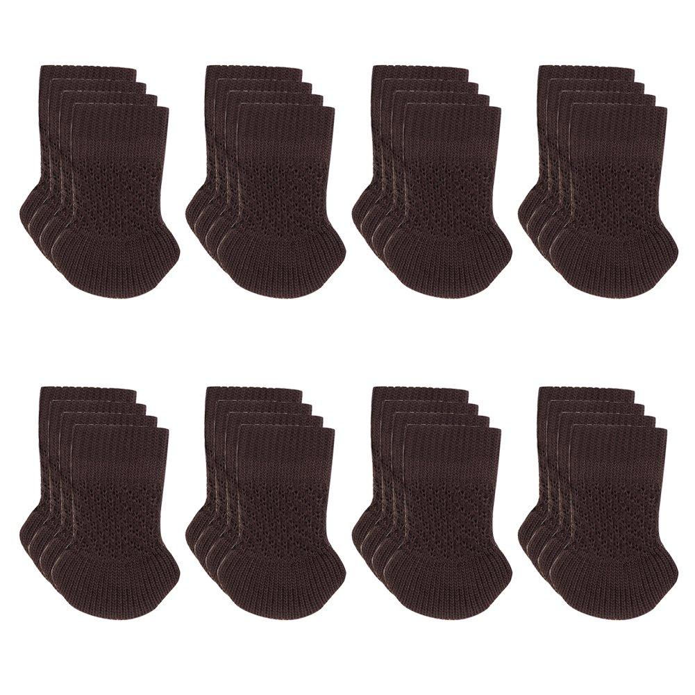 Cuccu 32pcs Chair Leg Socks-Knitting Wool Furniture Feet Socks/ Chair Leg Floor Protector/ Furniture Pads(Brown)