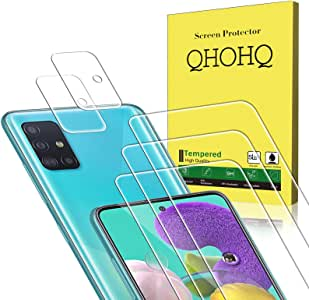 QHOHQ 3 Pack Screen Protector for Samsung Galaxy A51/Galaxy A51 5G with 2 Pack Camera Lens Protector,Tempered Glass Film, [9H Hardness] - HD - [2.5D Edge] - [Anti-Fingerprint] - [Anti-Scratch]