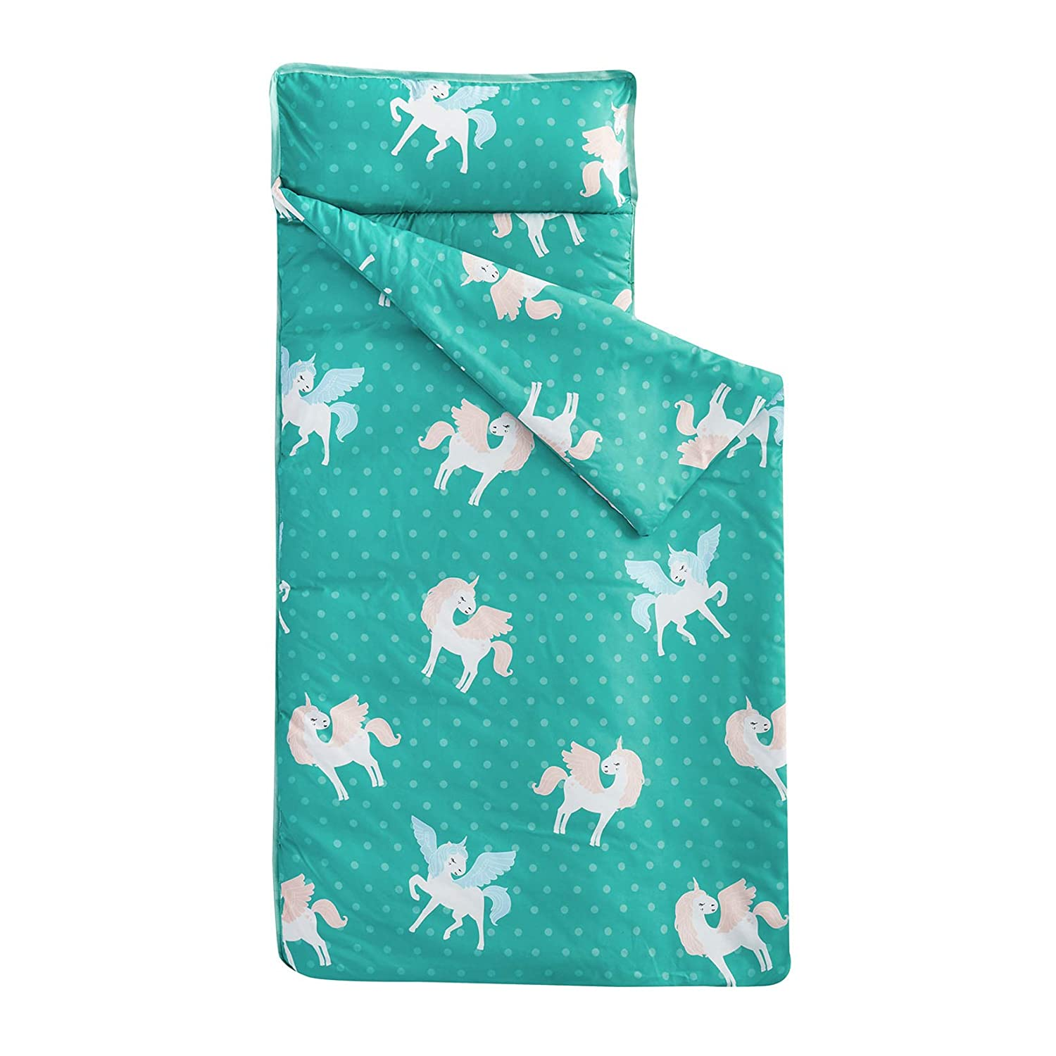 Wake In Cloud - Nap Mat with Removable Pillow for Kids Toddler Boys Girls Daycare Preschool Kindergarten Sleeping Bag, White Unicorns with Wings on Teal, 100% Soft Microfiber (50