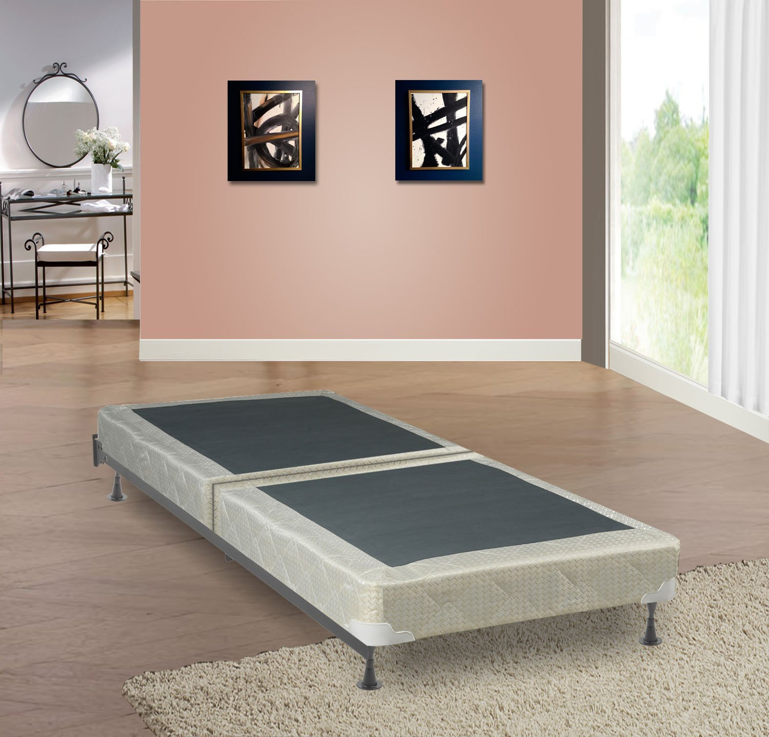 Spring Coil Twin Size 4'' Fully Assembled Split Box Spring for Mattress, Luxury Collection