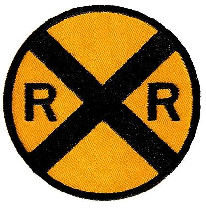 Amazon.com: Railroad Crossing Road Sign bordado Patch Iron ...