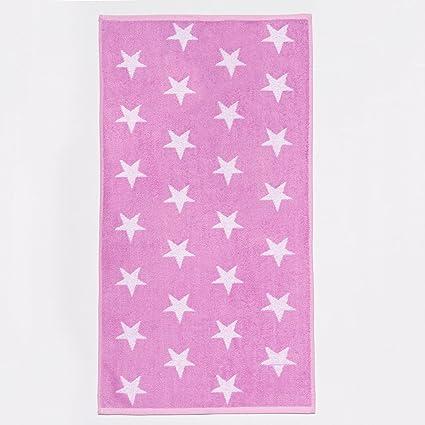 Sancarlos Estrellas Toalla Bordada Algodón, Rosa Lavabo, 50x100