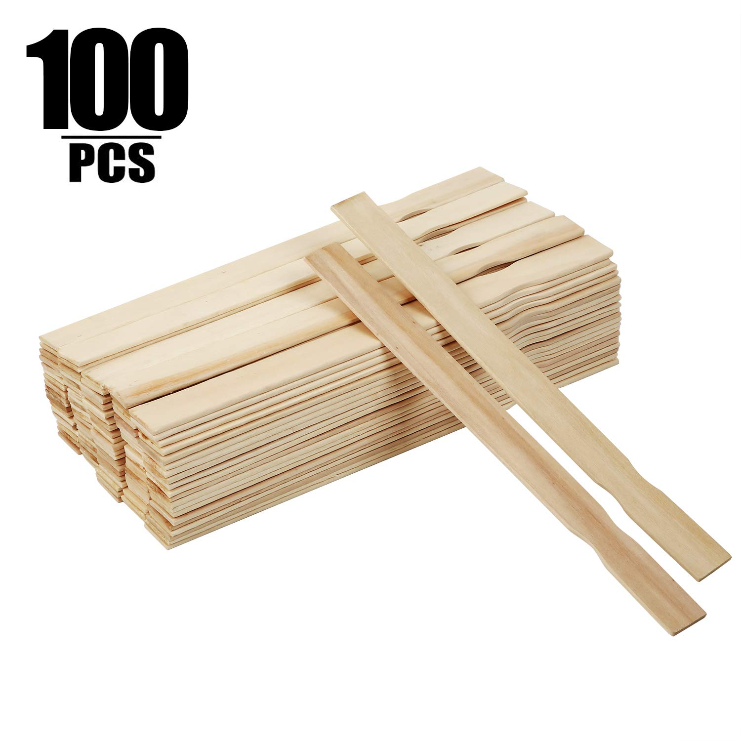 100 PCS 12 Inch Length Paint Sticks, KINJOEK Premium Wood Multi-Purpose Wood Crafts Sticks for Paint Mixing, Chemical Stirring, Wood Crafts, Kids Craft  by KINJOEK